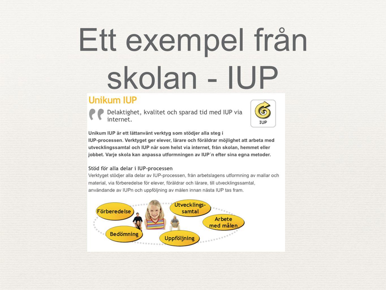 Ett exempel från skolan - IUP