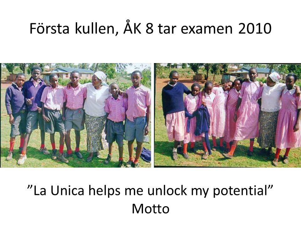 Första kullen, ÅK 8 tar examen 2010 La Unica helps me unlock my potential Motto