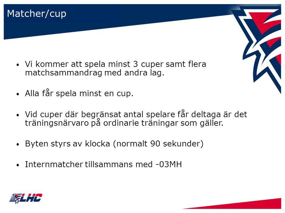 Matcher/cup Vi kommer att spela minst 3 cuper samt flera matchsammandrag med andra lag. Alla får spela minst en cup. Vid cuper där begränsat antal spe