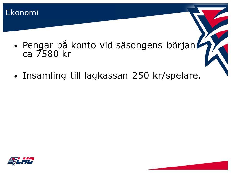 Ekonomi Pengar på konto vid säsongens början ca 7580 kr Insamling till lagkassan 250 kr/spelare.