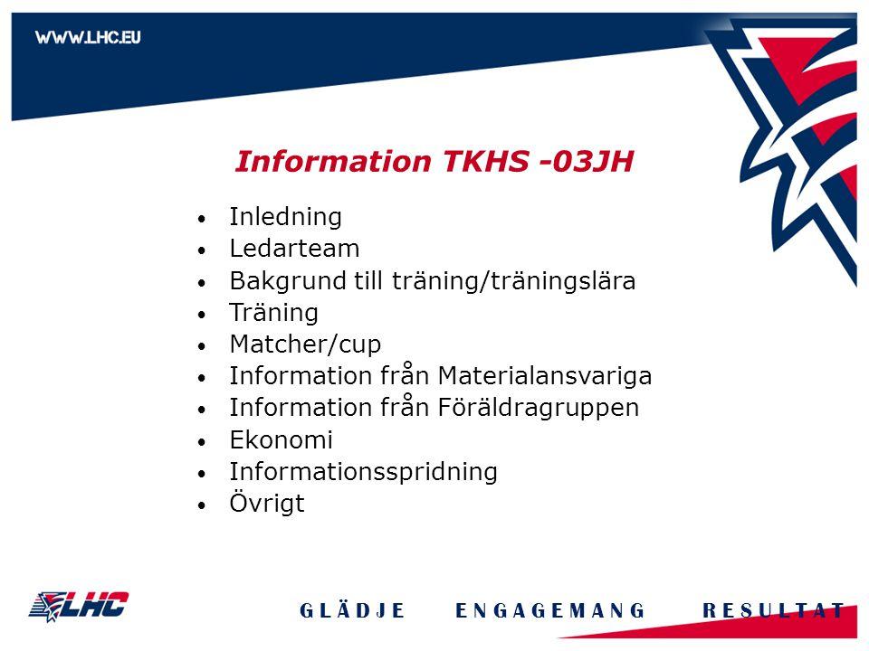 Information TKHS -03JH G L Ä D J E E N G A G E M A N G R E S U L T A T Inledning Ledarteam Bakgrund till träning/träningslära Träning Matcher/cup Information från Materialansvariga Information från Föräldragruppen Ekonomi Informationsspridning Övrigt
