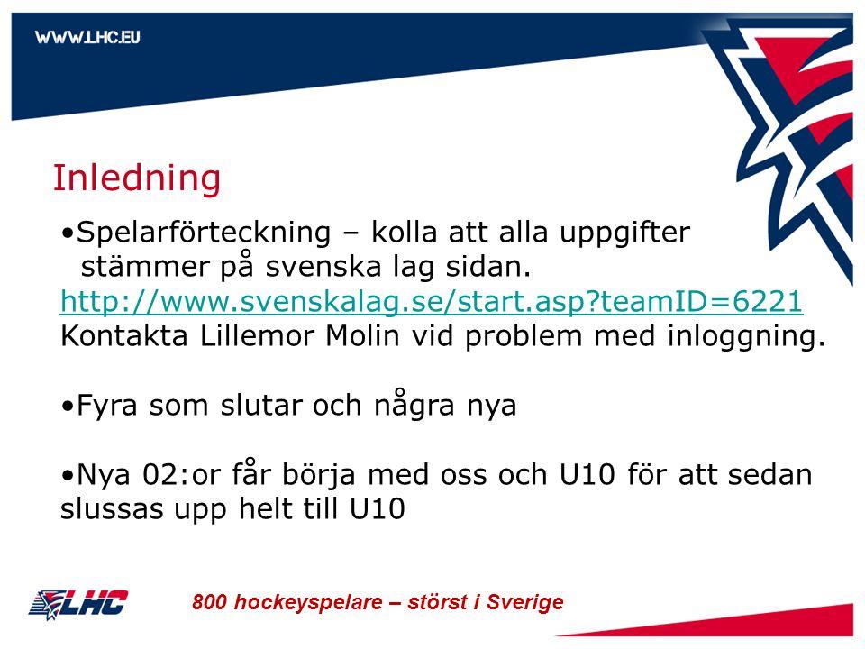 800 hockeyspelare – störst i Sverige Inledning Spelarförteckning – kolla att alla uppgifter stämmer på svenska lag sidan. http://www.svenskalag.se/sta