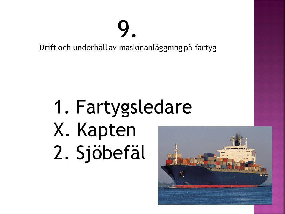 9. Drift och underhåll av maskinanläggning på fartyg 1. Fartygsledare X. Kapten 2. Sjöbefäl