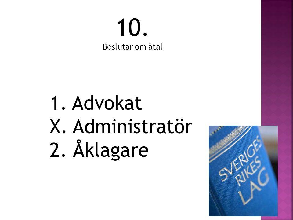 10. Beslutar om åtal 1. Advokat X. Administratör 2. Åklagare
