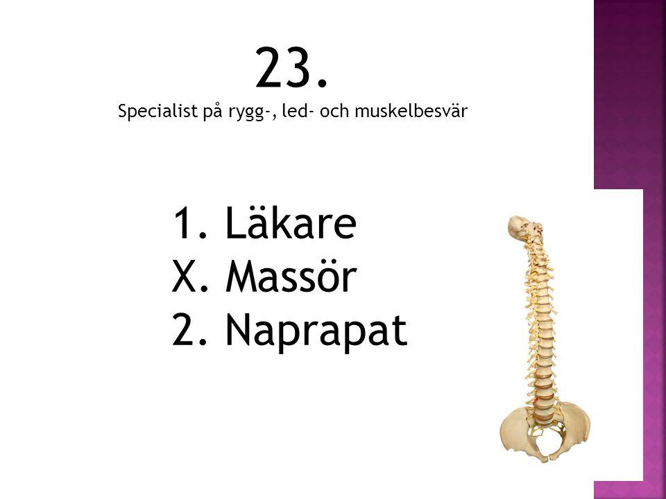 23. Specialist på rygg-, led- och muskelbesvär 1. Läkare X. Massör 2. Naprapat