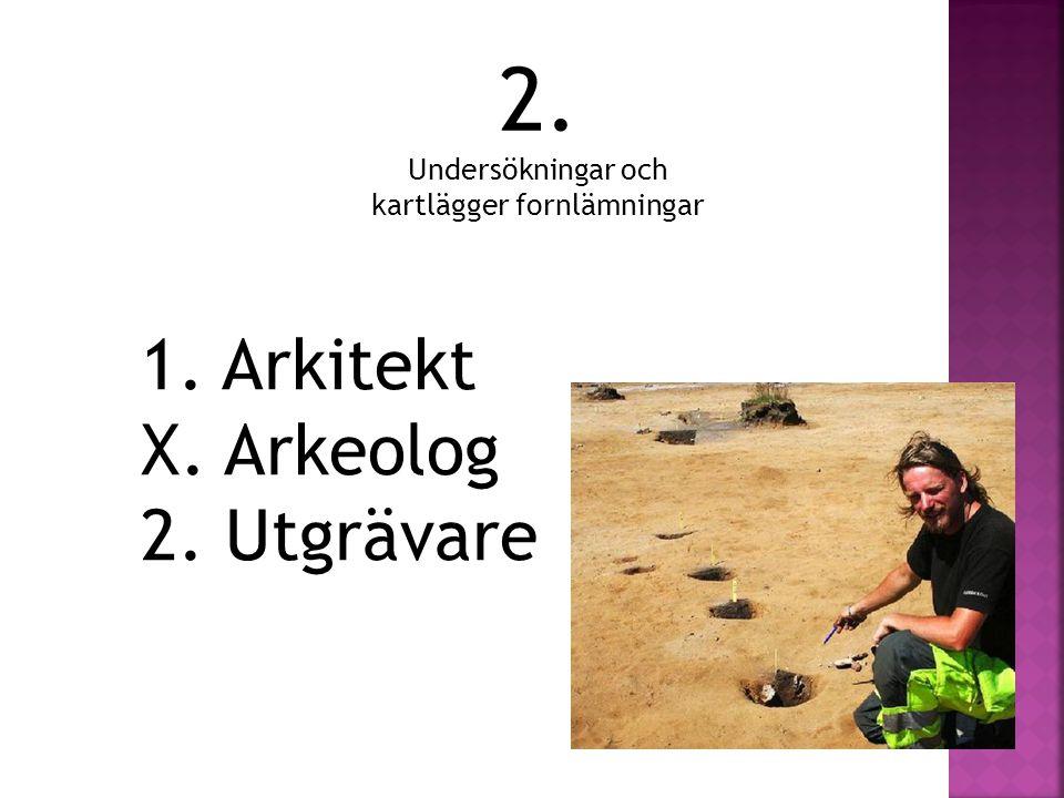 2. Undersökningar och kartlägger fornlämningar 1. Arkitekt X. Arkeolog 2. Utgrävare