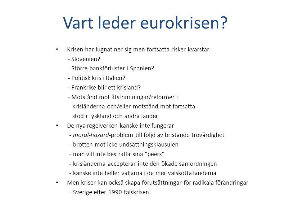 Vart leder eurokrisen. Krisen har lugnat ner sig men fortsatta risker kvarstår - Slovenien.