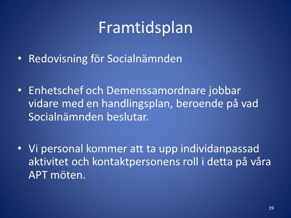 Framtidsplan Redovisning för Socialnämnden Enhetschef och Demenssamordnare jobbar vidare med en handlingsplan, beroende på vad Socialnämnden beslutar.