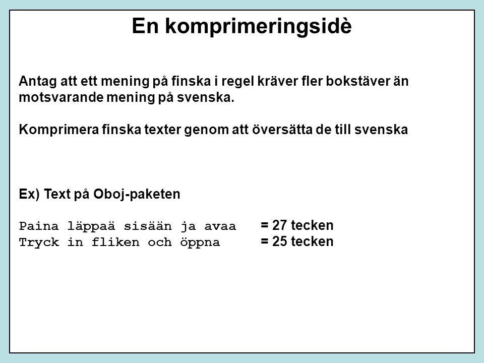 En komprimeringsidè Antag att ett mening på finska i regel kräver fler bokstäver än motsvarande mening på svenska. Komprimera finska texter genom att