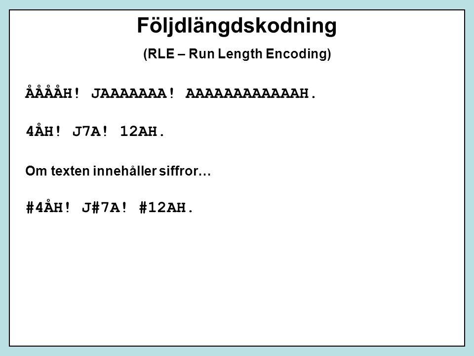 Följdlängdskodning (RLE – Run Length Encoding) ÅÅÅÅH! JAAAAAAA! AAAAAAAAAAAAH. 4ÅH! J7A! 12AH. Om texten innehåller siffror… #4ÅH! J#7A! #12AH.