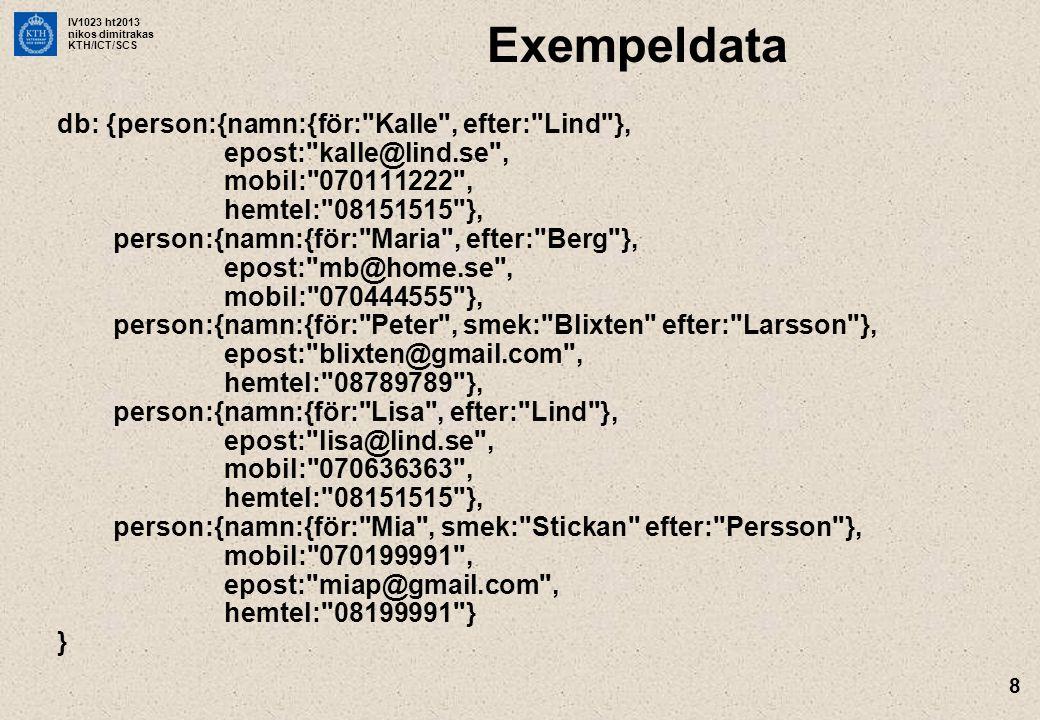 IV1023 ht2013 nikos dimitrakas KTH/ICT/SCS 8 Exempeldata db: {person:{namn:{för: