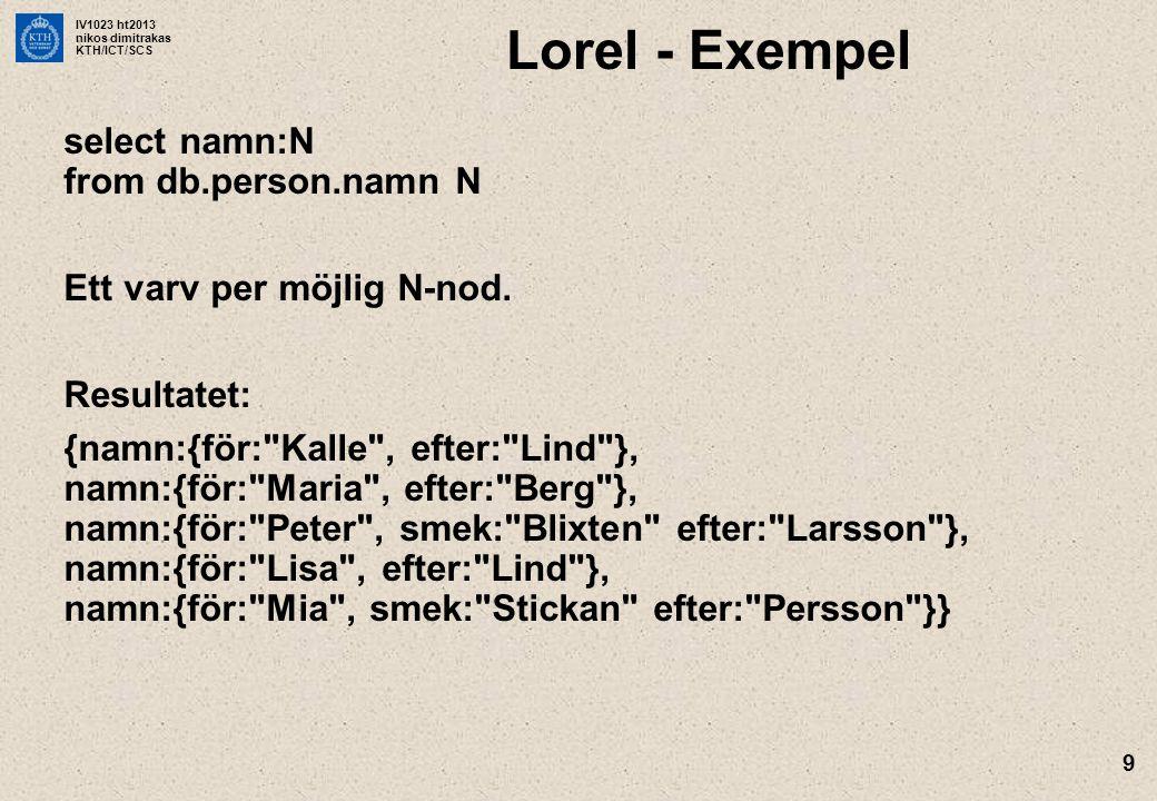 IV1023 ht2013 nikos dimitrakas KTH/ICT/SCS 9 Lorel - Exempel select namn:N from db.person.namn N Ett varv per möjlig N-nod. Resultatet: {namn:{för: