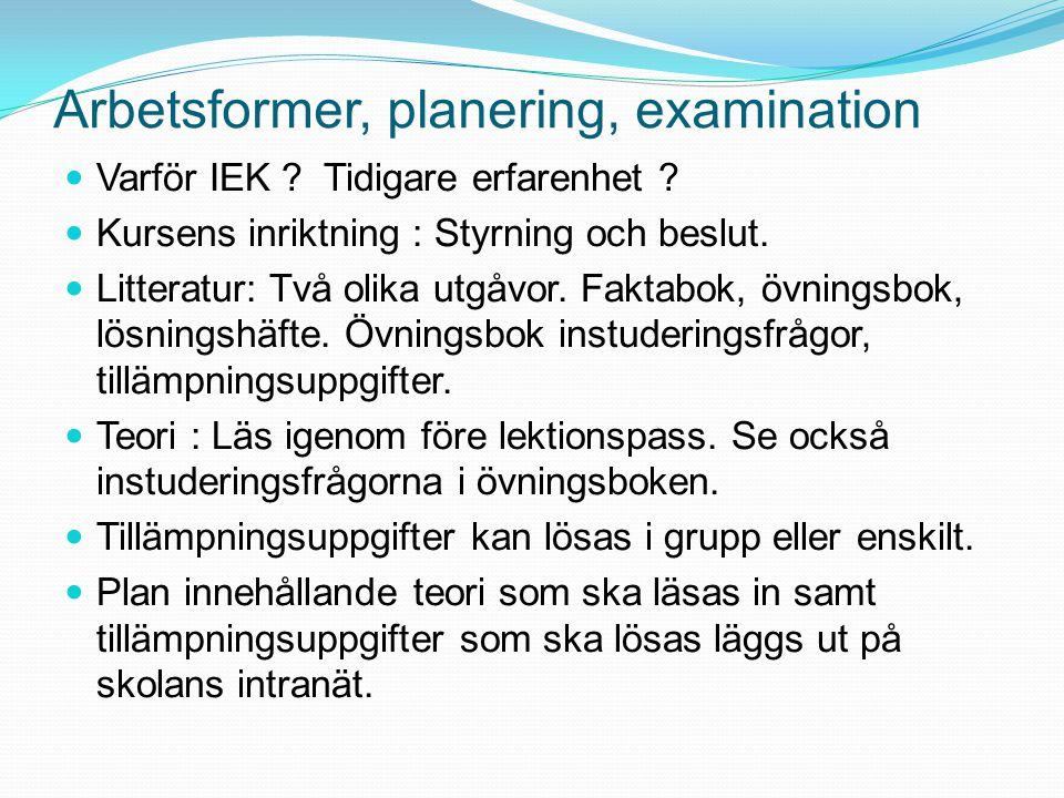Arbetsformer, planering, examination Varför IEK . Tidigare erfarenhet .