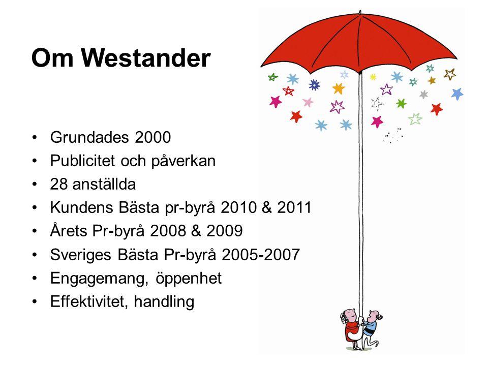 Om Westander Grundades 2000 Publicitet och påverkan 28 anställda Kundens Bästa pr-byrå 2010 & 2011 Årets Pr-byrå 2008 & 2009 Sveriges Bästa Pr-byrå 20