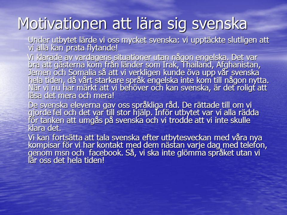 Motivationen att lära sig svenska Under utbytet lärde vi oss mycket svenska: vi upptäckte slutligen att vi alla kan prata flytande! Vi klarade av vard