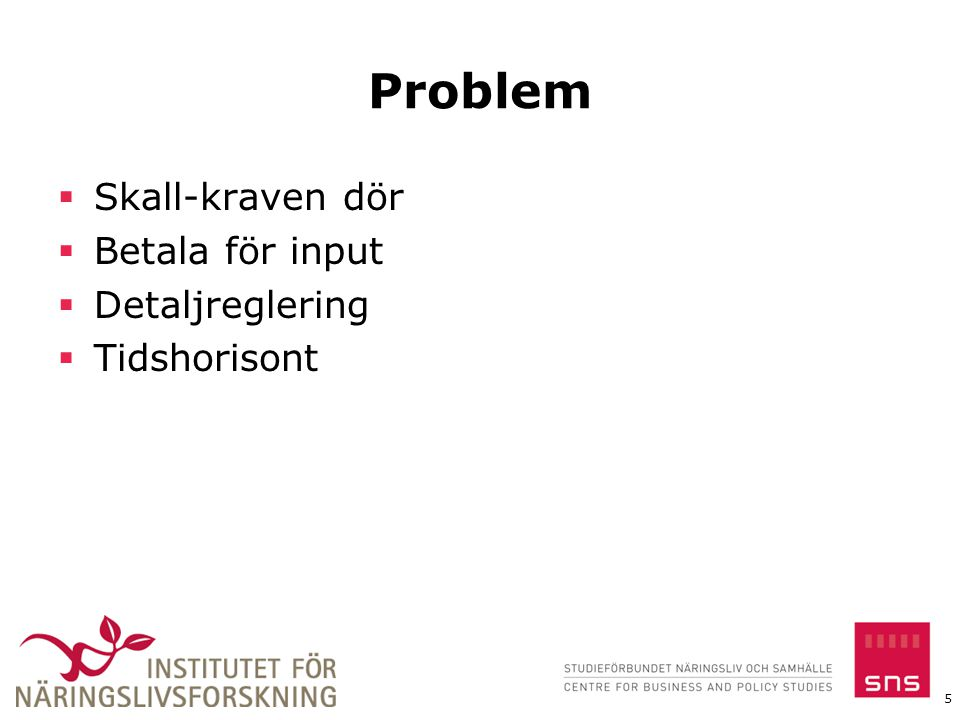 Problem  Skall-kraven dör  Betala för input  Detaljreglering  Tidshorisont 5
