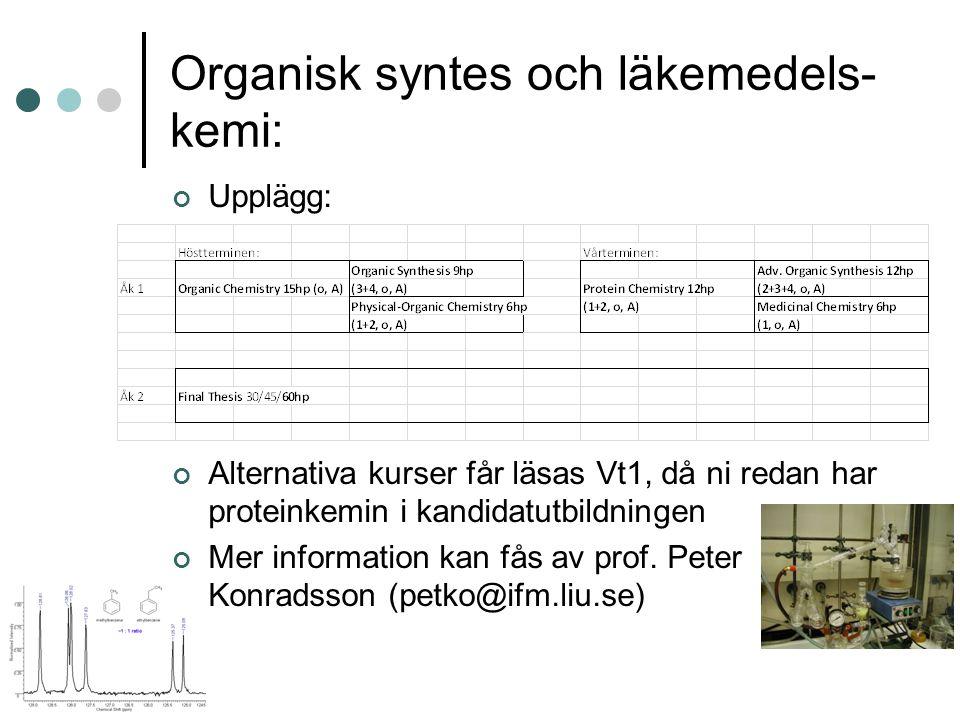 Organisk syntes och läkemedels- kemi: Upplägg: Alternativa kurser får läsas Vt1, då ni redan har proteinkemin i kandidatutbildningen Mer information kan fås av prof.