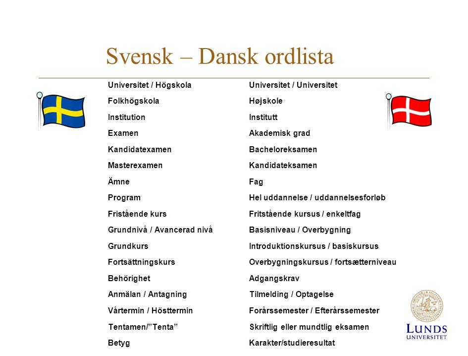 Svensk – Dansk ordlista Universitet / HögskolaUniversitet / Universitet FolkhögskolaHøjskole InstitutionInstitutt ExamenAkademisk grad KandidatexamenB