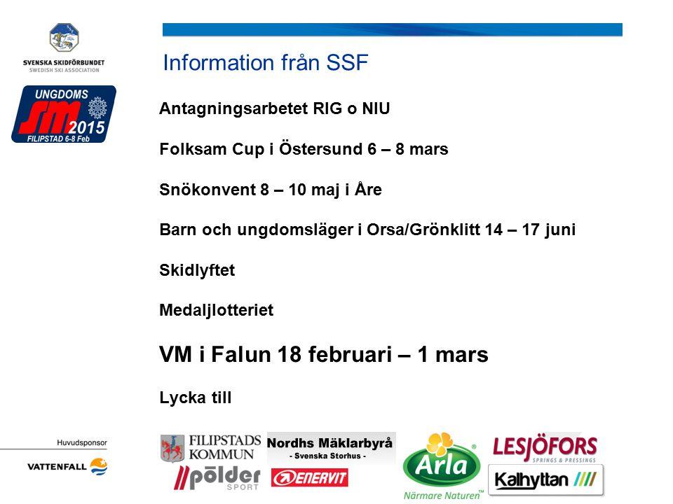 Information från SSF Antagningsarbetet RIG o NIU Folksam Cup i Östersund 6 – 8 mars Snökonvent 8 – 10 maj i Åre Barn och ungdomsläger i Orsa/Grönklitt
