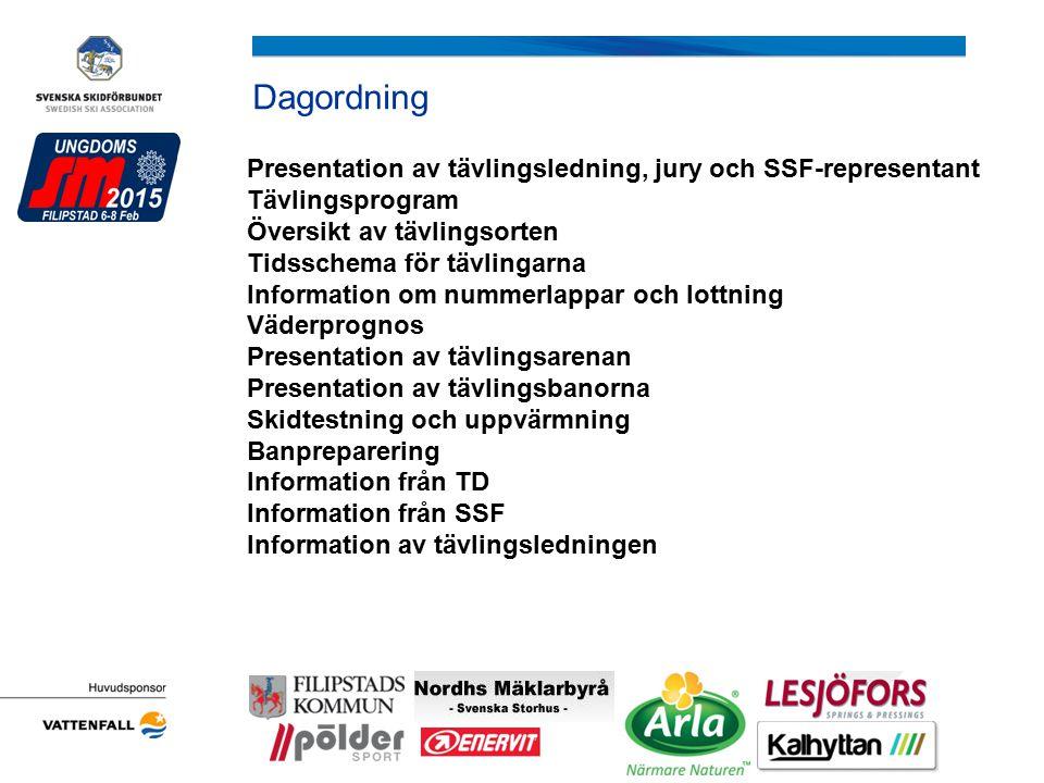 Information från TD Åkriktning, gäller både tävlingsbana och uppvärmningsspår samtliga tider för aktiva och ledare.