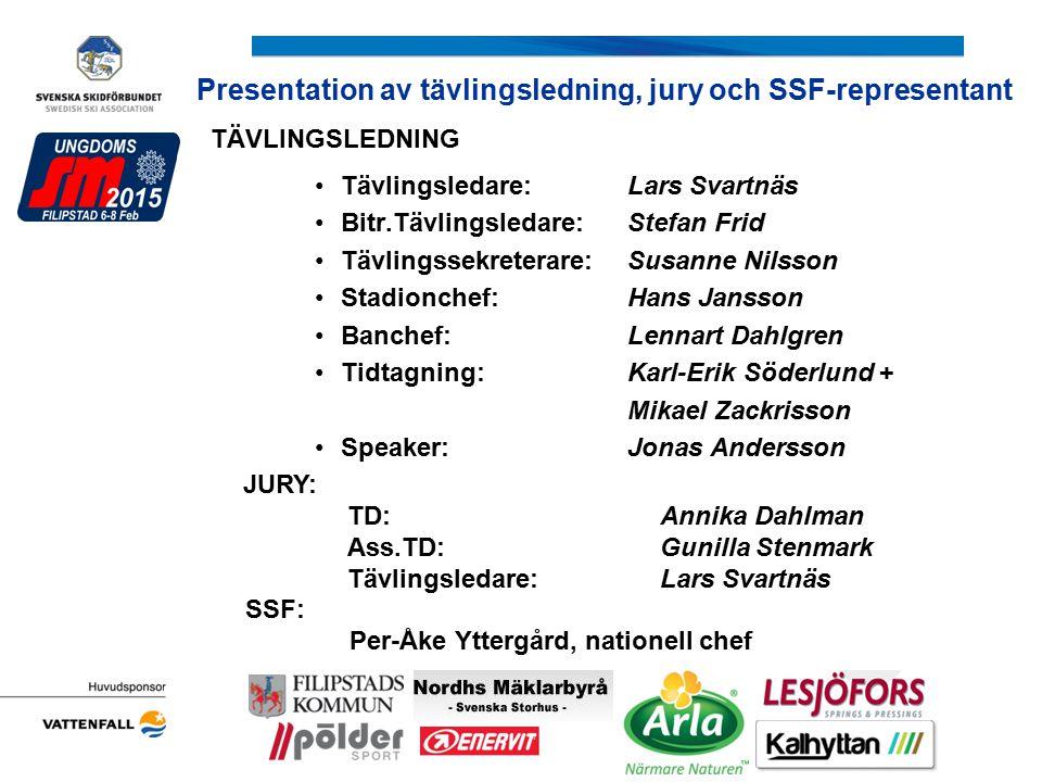 Presentation av tävlingsledning, jury och SSF-representant Arrangörens logotyp JURY: TD: Annika Dahlman Ass.TD: Gunilla Stenmark Tävlingsledare:Lars S