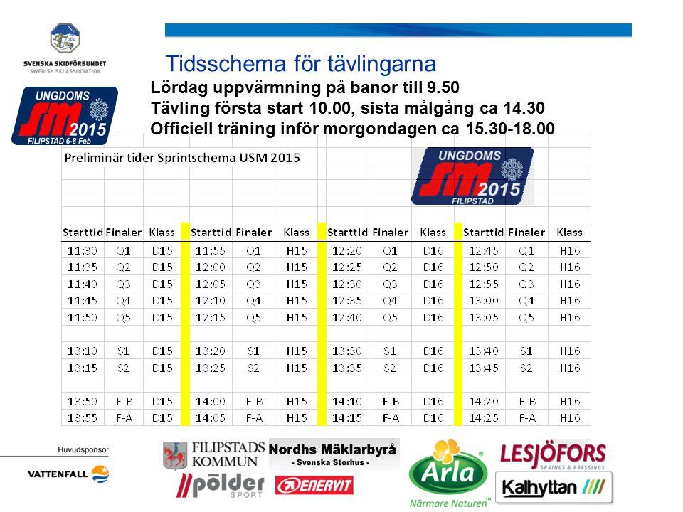Tidsschema för tävlingarna Lördag uppvärmning på banor till 9.50 Tävling första start 10.00, sista målgång ca 14.30 Officiell träning inför morgondage
