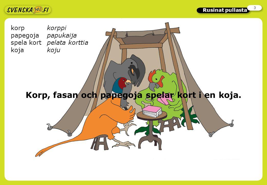 2 Rusinat pullasta Arvaa sanoja Etsi sanat, jotka ymmärrät suomen avulla! Saatko selvää tarinasta