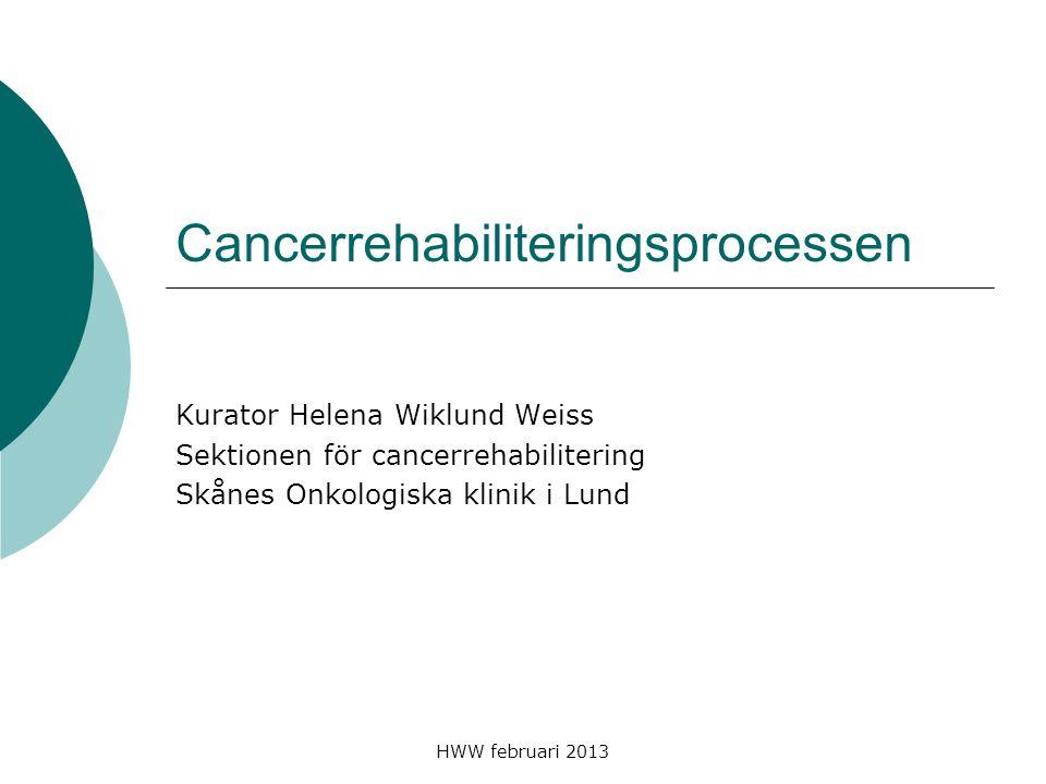 HWW februari 2013 Föreläsning i tre delar  Cancer verklighet och föreställningar Klara & Mirja  Rehabilitering definition psykosocialt stöd  Process livet som en process att mötas