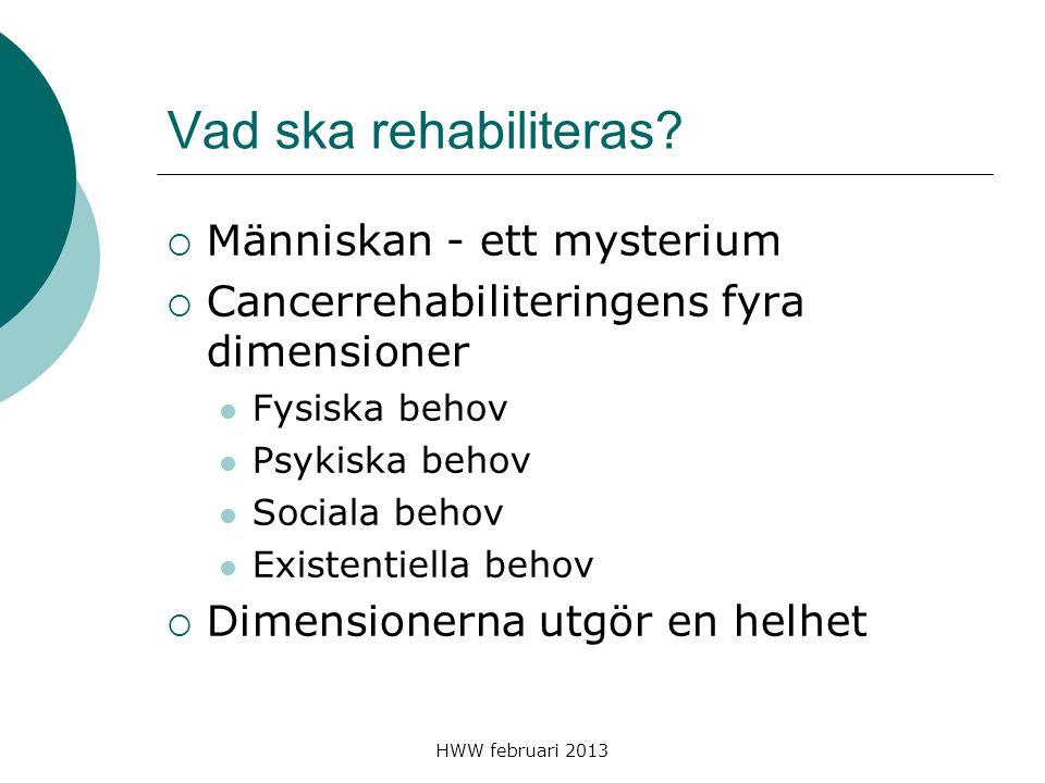 HWW februari 2013 Vad ska rehabiliteras?  Människan - ett mysterium  Cancerrehabiliteringens fyra dimensioner Fysiska behov Psykiska behov Sociala b