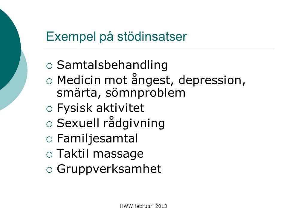 HWW februari 2013 Exempel på stödinsatser  Samtalsbehandling  Medicin mot ångest, depression, smärta, sömnproblem  Fysisk aktivitet  Sexuell rådgi