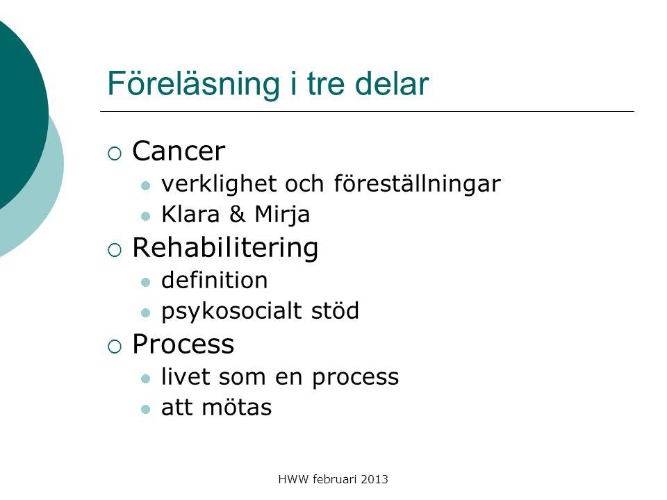 HWW februari 2013 Föreläsning i tre delar  Cancer verklighet och föreställningar Klara & Mirja  Rehabilitering definition psykosocialt stöd  Proces