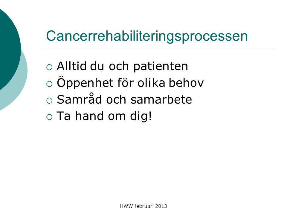 HWW februari 2013 Cancerrehabiliteringsprocessen  Alltid du och patienten  Öppenhet för olika behov  Samråd och samarbete  Ta hand om dig!