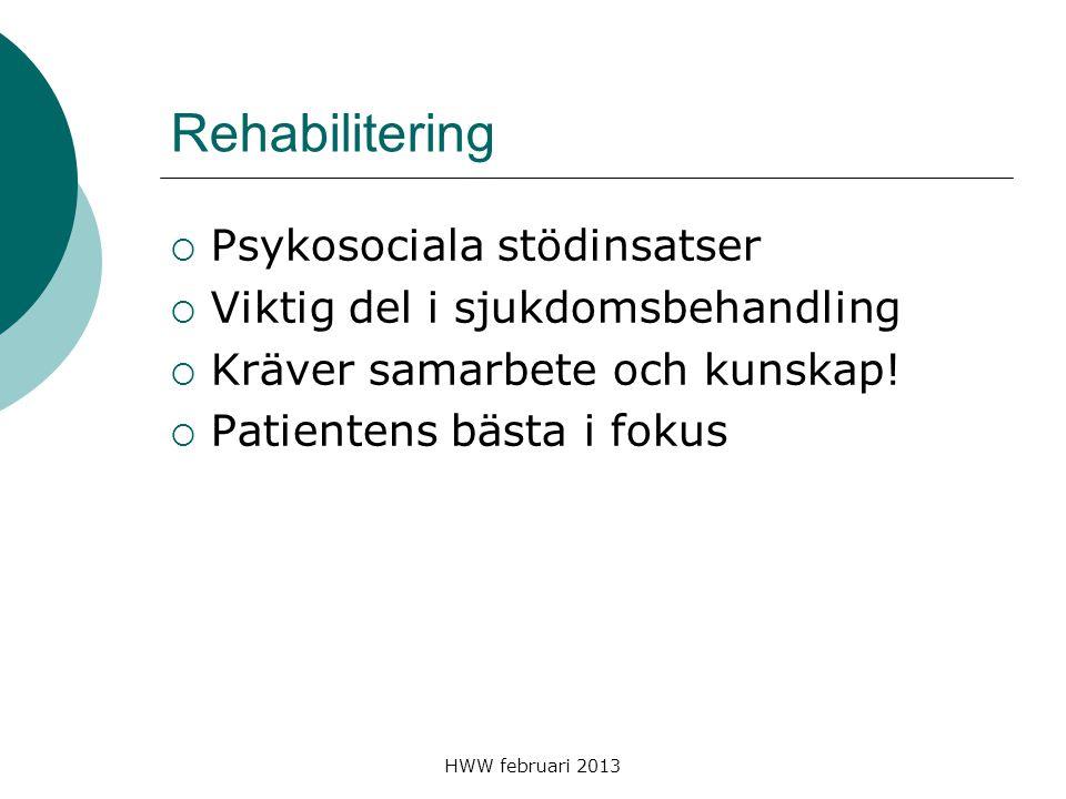 HWW februari 2013 Rehabilitering  Psykosociala stödinsatser  Viktig del i sjukdomsbehandling  Kräver samarbete och kunskap!  Patientens bästa i fo