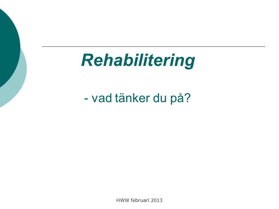 HWW februari 2013 Rehabilitering - vad tänker du på?