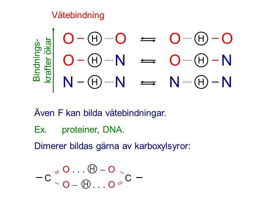 Vätebindning Bindnings- krafter ökar OO N H O H N H NN H N NO H OO H C   O...  O H  C  O ... O H Även F kan bilda vätebindningar. Ex.proteiner,