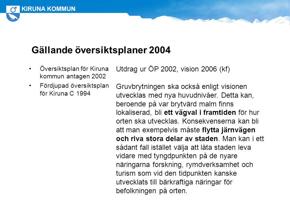 Gällande översiktsplaner 2004 Översiktsplan för Kiruna kommun antagen 2002 Fördjupad översiktsplan för Kiruna C 1994 Utdrag ur ÖP 2002, vision 2006 (kf) Gruvbrytningen ska också enligt visionen utvecklas med nya huvudnivåer.