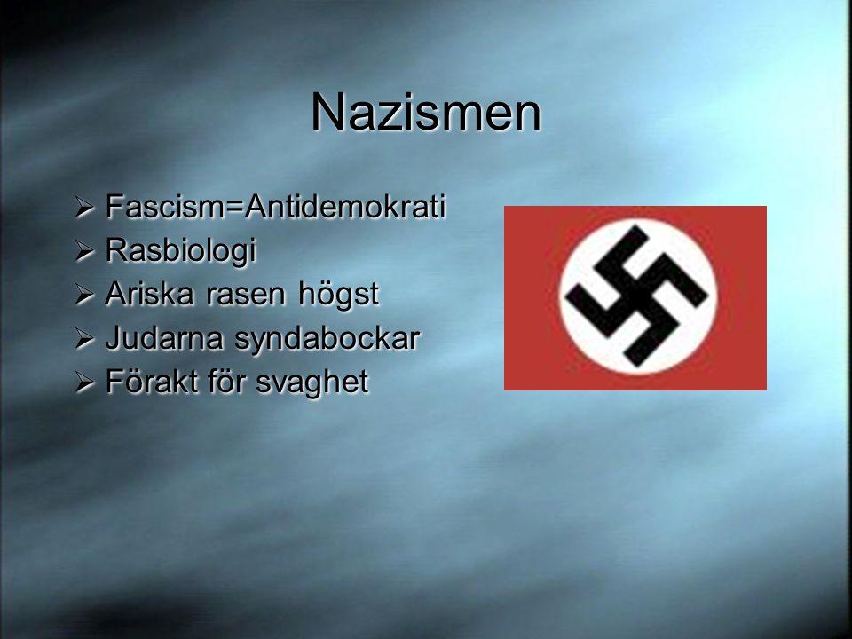Nazismen  Fascism=Antidemokrati  Rasbiologi  Ariska rasen högst  Judarna syndabockar  Förakt för svaghet  Fascism=Antidemokrati  Rasbiologi  Ariska rasen högst  Judarna syndabockar  Förakt för svaghet