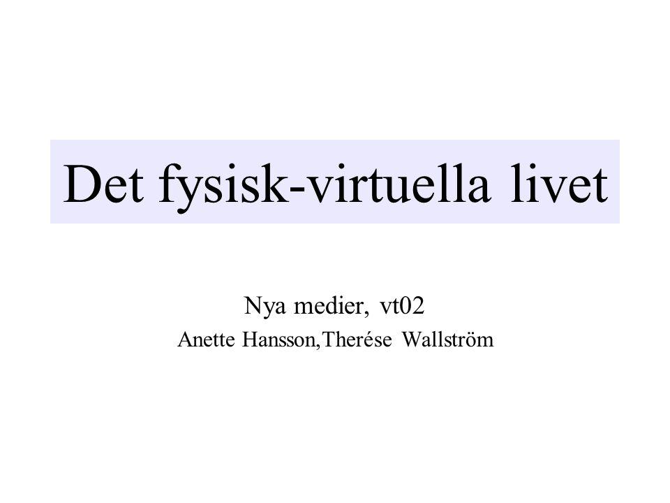 Det fysisk-virtuella livet Nya medier, vt02 Anette Hansson,Therése Wallström