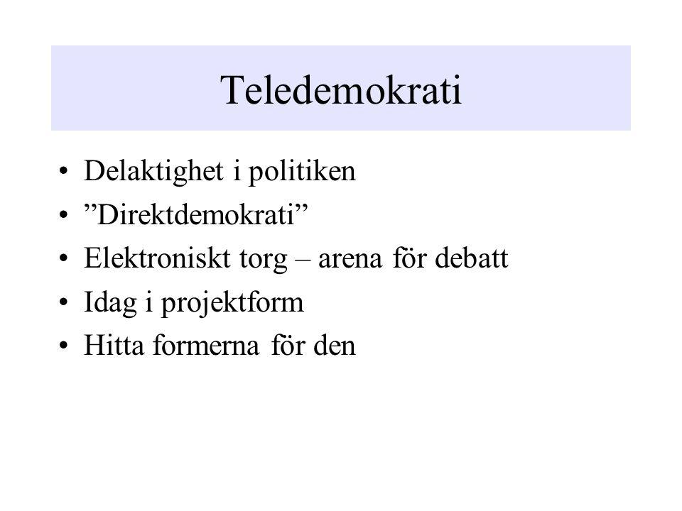 Teledemokrati Delaktighet i politiken Direktdemokrati Elektroniskt torg – arena för debatt Idag i projektform Hitta formerna för den