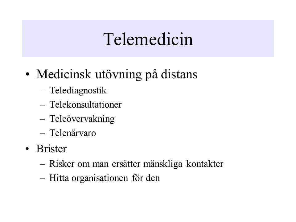 Telemedicin Medicinsk utövning på distans –Telediagnostik –Telekonsultationer –Teleövervakning –Telenärvaro Brister –Risker om man ersätter mänskliga kontakter –Hitta organisationen för den