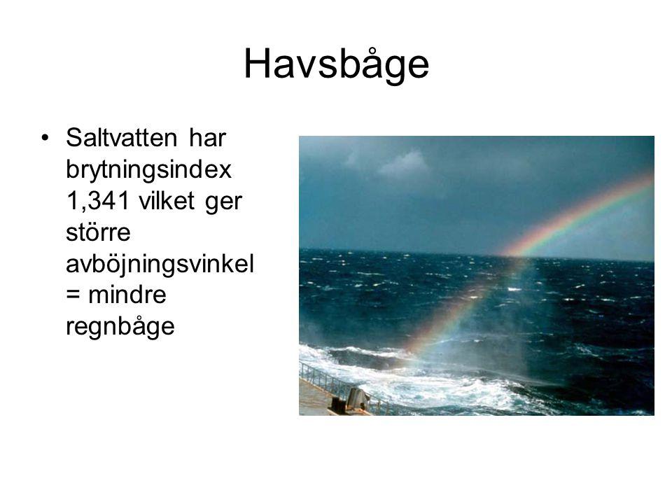 Havsbåge Saltvatten har brytningsindex 1,341 vilket ger större avböjningsvinkel = mindre regnbåge