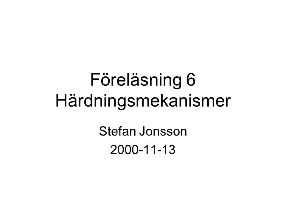 Föreläsning 6 Härdningsmekanismer Stefan Jonsson 2000-11-13