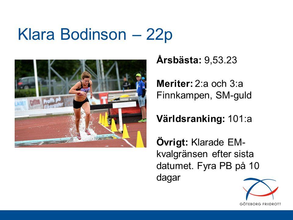 Klara Bodinson – 22p Årsbästa: 9,53.23 Meriter: 2:a och 3:a Finnkampen, SM-guld Världsranking: 101:a Övrigt: Klarade EM- kvalgränsen efter sista datum