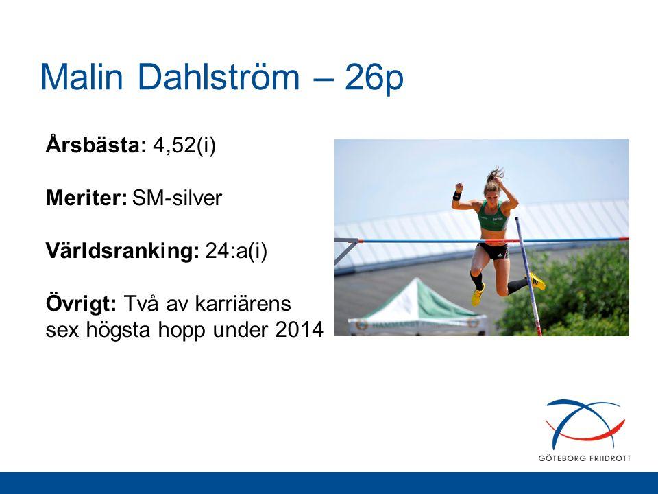 Malin Dahlström – 26p Årsbästa: 4,52(i) Meriter: SM-silver Världsranking: 24:a(i) Övrigt: Två av karriärens sex högsta hopp under 2014