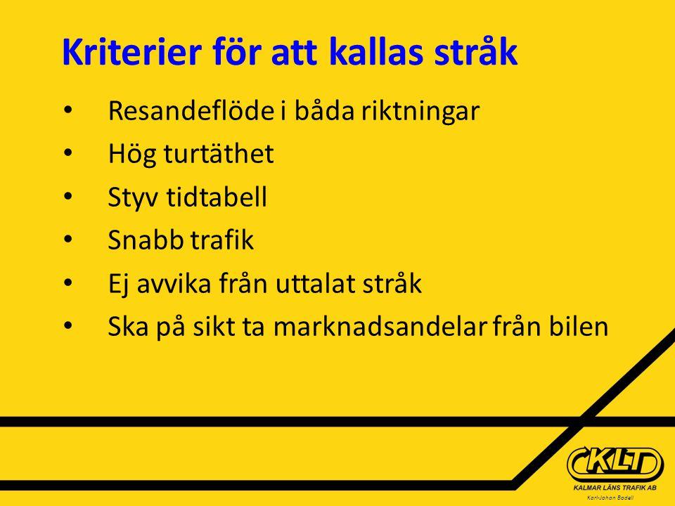 Karl-Johan Bodell Kriterier för att kallas stråk Resandeflöde i båda riktningar Hög turtäthet Styv tidtabell Snabb trafik Ej avvika från uttalat stråk Ska på sikt ta marknadsandelar från bilen