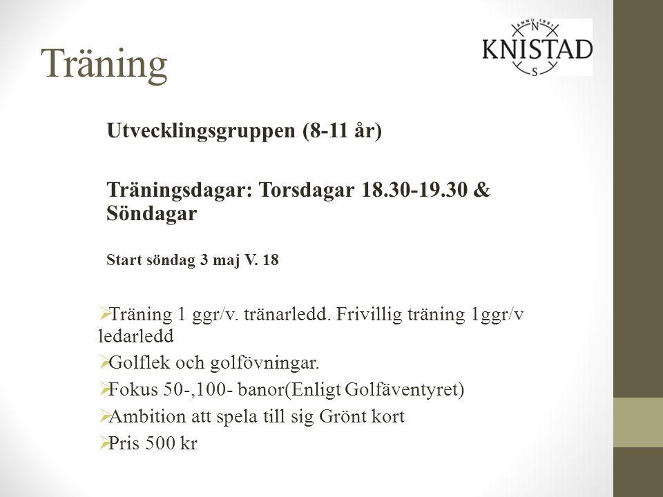 Träning Utvecklingsgruppen (8-11 år) Träningsdagar: Torsdagar 18.30-19.30 & Söndagar Start söndag 3 maj V. 18  Träning 1 ggr/v. tränarledd. Frivillig