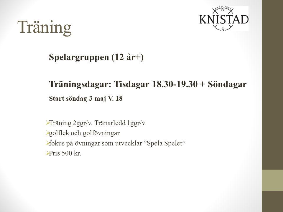 Träning Spelargruppen (12 år+) Träningsdagar: Tisdagar 18.30-19.30 + Söndagar Start söndag 3 maj V. 18  Träning 2ggr/v. Tränarledd 1ggr/v  golflek o