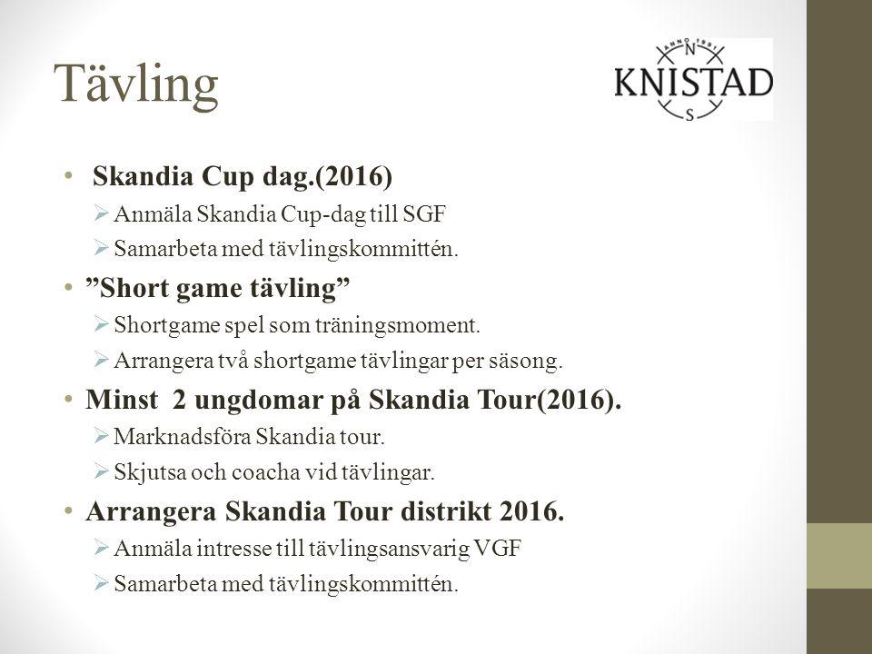 """Tävling Skandia Cup dag.(2016)  Anmäla Skandia Cup-dag till SGF  Samarbeta med tävlingskommittén. """"Short game tävling""""  Shortgame spel som tränings"""