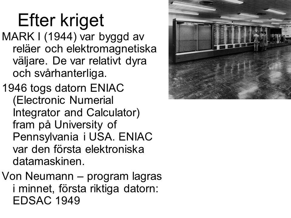 Efter kriget MARK I (1944) var byggd av reläer och elektromagnetiska väljare. De var relativt dyra och svårhanterliga. 1946 togs datorn ENIAC (Electro