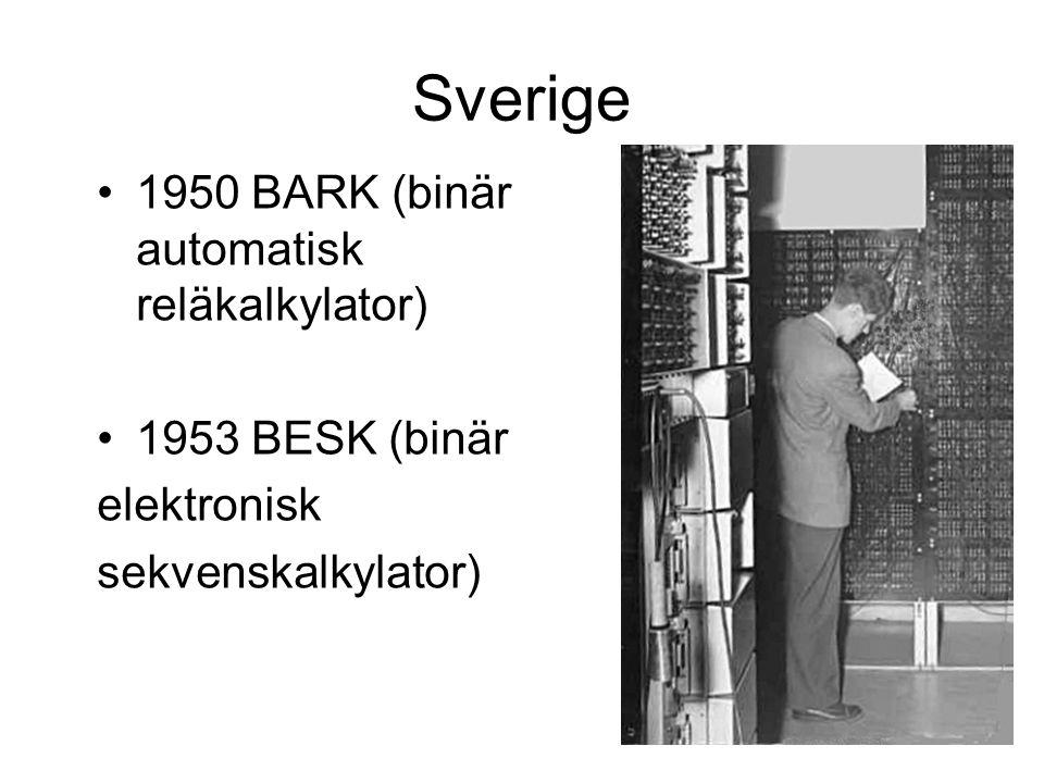 Sverige 1950 BARK (binär automatisk reläkalkylator) 1953 BESK (binär elektronisk sekvenskalkylator)